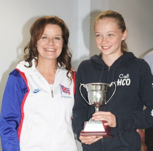 Sue Samme presents the Coaches Cup to Chloe Norman